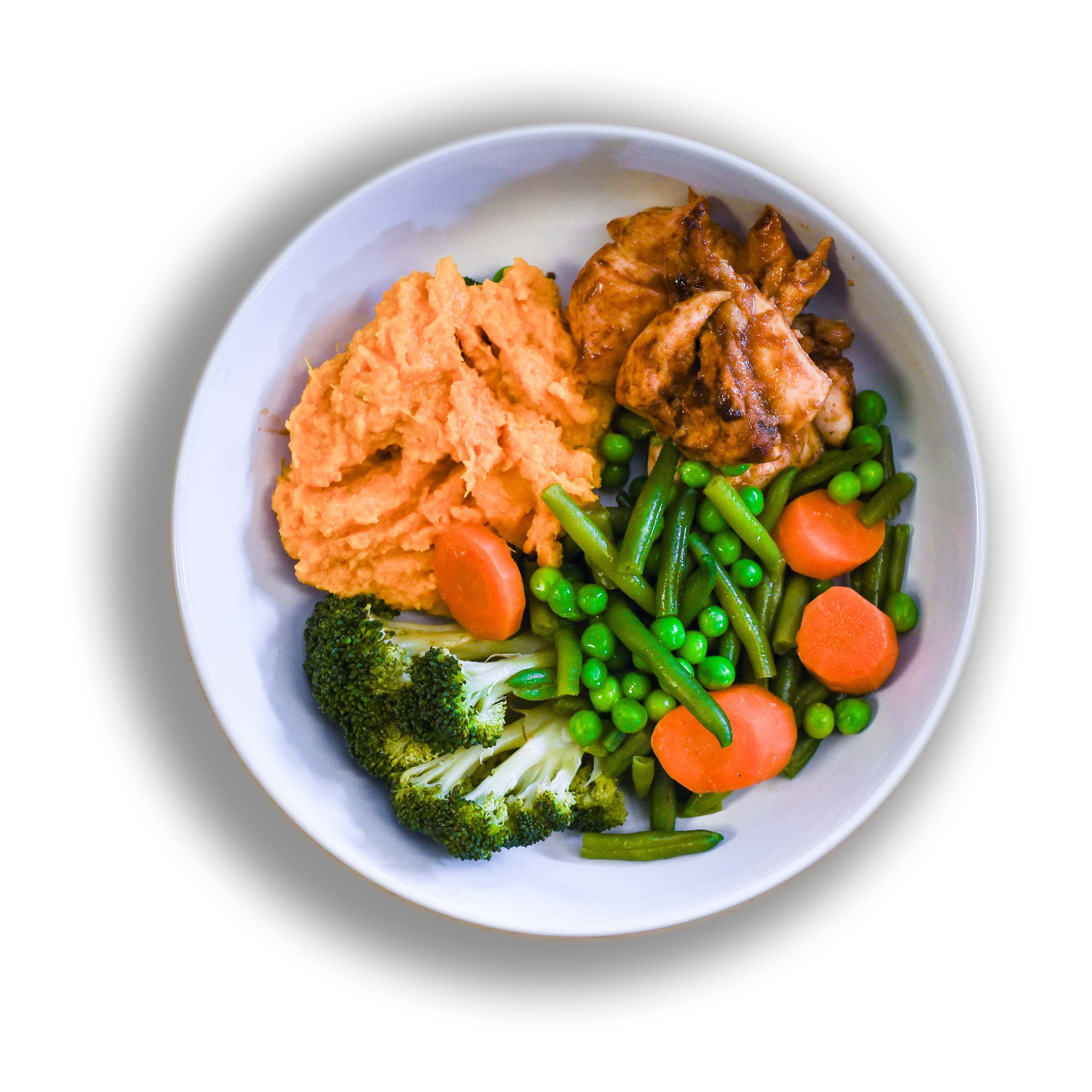 Smoked Hickory Bbq Chicken Served With Creamy Seasoned Sweet Potato Mash And A Medley Of Vegetables Regular Nutri Go Meals For Fitness